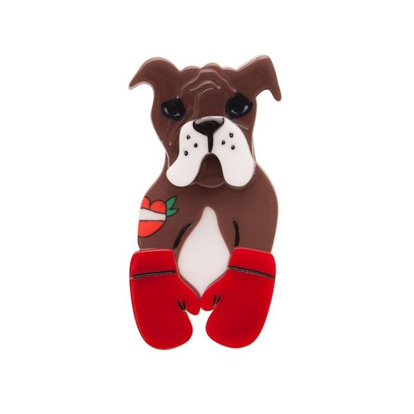"""Limited Edition Gorgeous George resin brooch (Pet Circus Collection - Autumn 2015). """"A pugilist not a pug. George has a bone to pick with those who say differently."""""""
