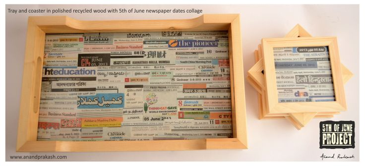 Tray & Coaster with newspaper collage