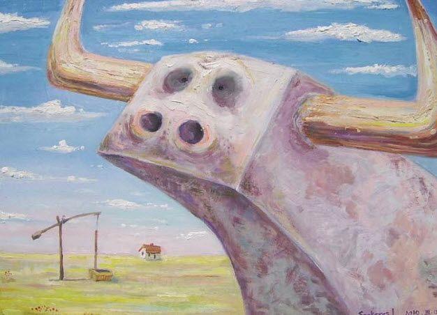 Imre Karrus Szekeres: Sadness, concrete cattle - 2010. 75 x 85 cm, 29.5 x 33.5 inch Oil, wood-fibre Exhibited until December 2015 For sale