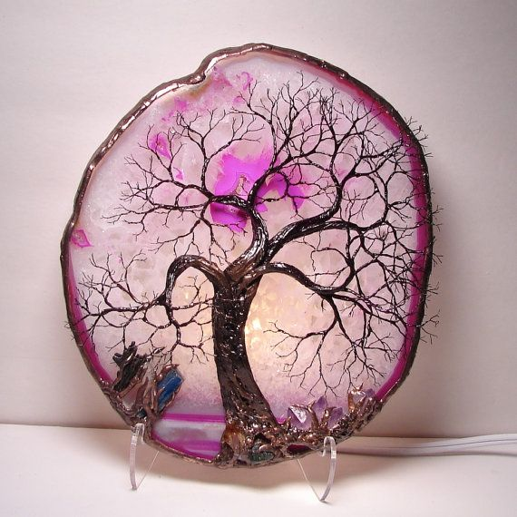 Pink Brazil Geode Agate slice wire Tree Of Life by CrowsFeathers, $224.00