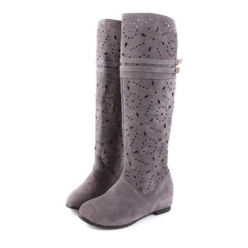 finishline online buy cheap shopping online 2015 New Elasticity frosting Leather Knee boots ladies lining Plush High Heel Snow Boots Women's Round Toes Wedge platform Shoes free shipping huge surprise supply for sale Inexpensive for sale 5INpzo