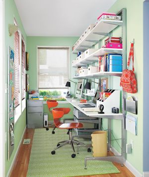 teeny yet functional two person home office.  I want one big desk for us both to share a la @Sherry @ Young House Love
