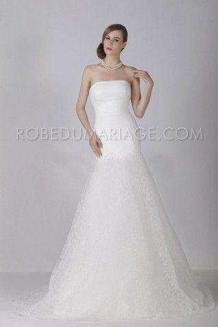 Robe mariée - Robe de mariée moderne dentelle sirène décolletée traîne balayée