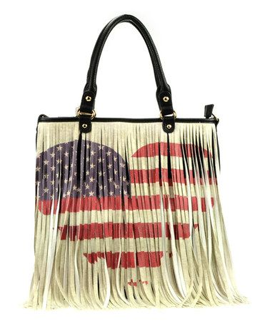 Look what I found on #zulily! Black American Flag Heart Tote #zulilyfinds