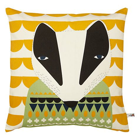 Buy Donna Wilson Printed Badger Cushion, Yellow Multi Online at johnlewis.com