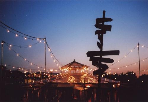 Glastonbury at night.