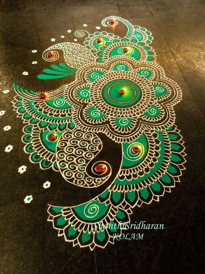 Green rangoli design