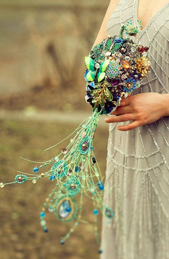 Wedding brooch bouquet the PEACOCK EMPRESS  vintage rhinestone - purple green blue gold