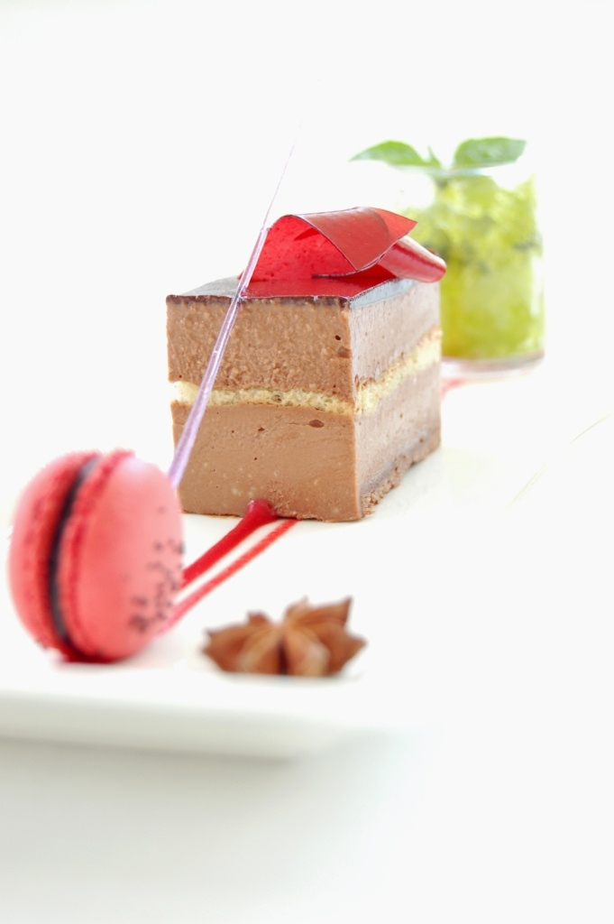 Milk Chocolate Cream Cheese with Anise Strawberry Ganache and Lemon Basil Sorbet