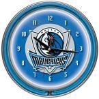 14 in. Dallas Mavericks NBA Chrome Double Ring Neon Wall Clock, Multi