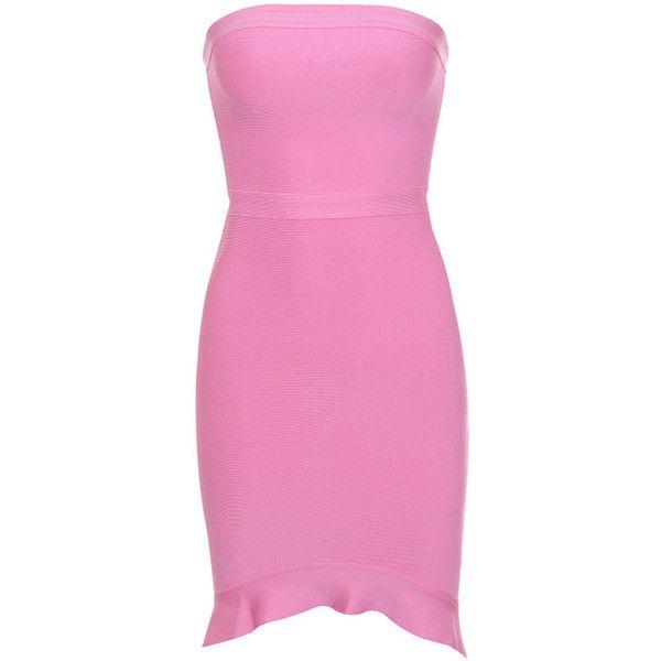 d707f77584da 'Elfin' Pink Strapless Fluted Hem Bandage Dress - Mistress Rocks (310 PEN)  ❤ liked on Polyvore featuring dresses, rock dress, bandage dresses, pink  bandage ...