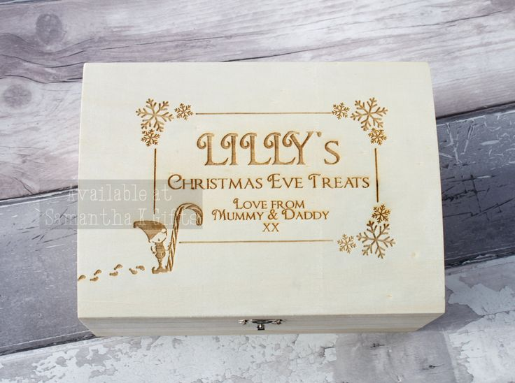 My new Christmas Eve box / chest.  Personalised, engraved wooden chest