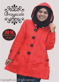 JAKET MUSLIMAH: Jaket Muslimah Hoodie Merah Cabe pin 31591bd9