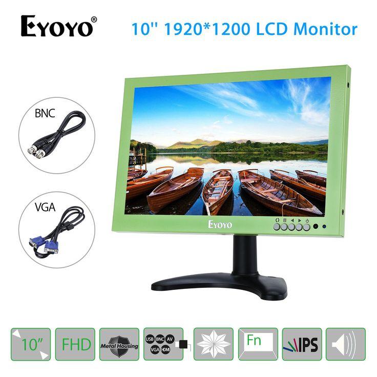 EYOYO 1920x1200 IPS Display 10'' LCD Screen VGA BNC USB Video Audio HDMI Monitor Speaker For CCTV DVD Laptop Green