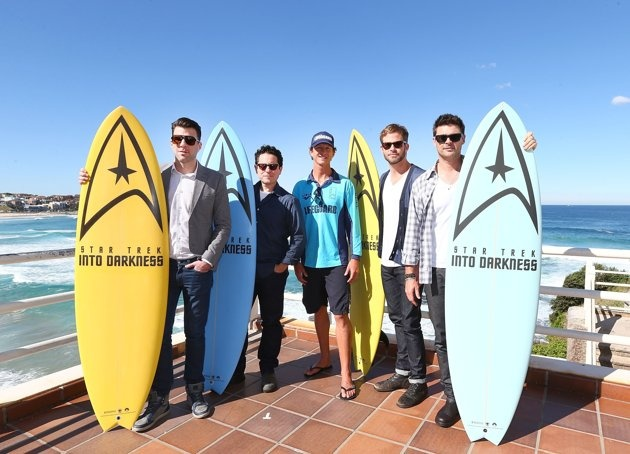 Zachary Quinto, J.J. Abrams, Lifeguard Dean Deano Gladstone, Chris Pine and Karl Urban pose at Bondi Beach at the Star Trek Into Darkness photo call on April 22, 2013 in Sydney, Australia.