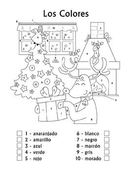 Celebrate Christmas (Navidad) while practicing Spanish color names using this adorable color by number worksheet.  Designed for children in Kindergarten, 1st Grade, 2nd Grade and 3rd Grade, this coloring worksheet associates ten Spanish colors with numbers, and instructs children to follow the color pattern to create a colorful image of a Christmas reindeer and tree with ornaments. $