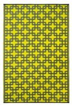 Fab Habitat 5-Feet by 8-Feet Rheinsberg Indoor/Outdoor Rug, Sunny Lime and Charcoal Gray