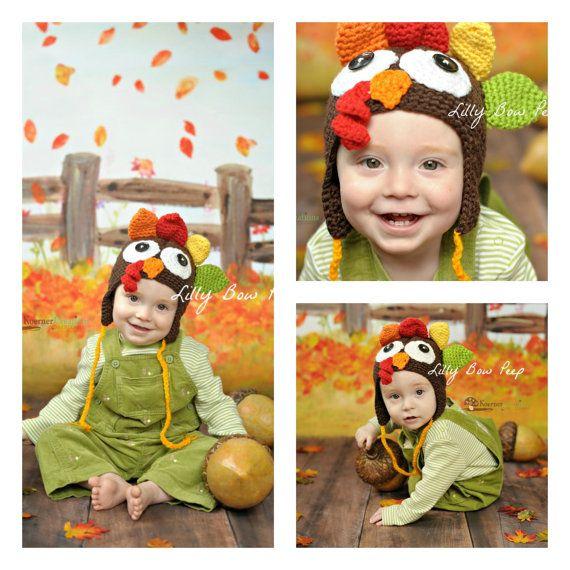 Turkey Hat Thanksgiving Hat Baby Hat Newborn by LillyBowPeep