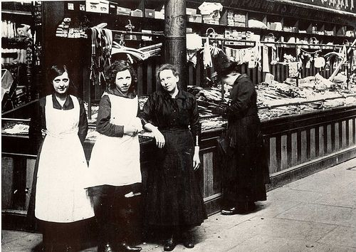 Market Hall, Bolton. Gregory and Poritt's stall circa 1900.