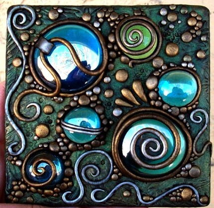 Jeweled Journal 2: Glasses Tile, Polymer Clay Jewelry, Turquoi Blue, Blue Green, Glasses Marbles, Mosaics Ideas, Mosaics Tile, Clay Art, Acrylics Tile