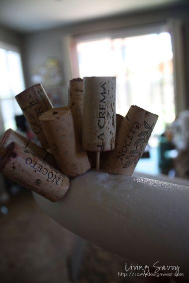 wine cork wreath using toothpicks to adhere to syrofoam wreath