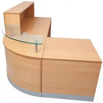Buy Our Curve reception desk.  Beech colour,  Overall size: 2400mm x 1600mm, right or left hand,  5 year warranty,  Price includes GST
