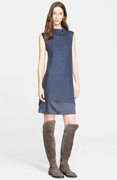 Fabiana Filippi Embellished Knit Overlay Satin Dress available at #Nordstrom