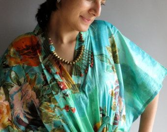 Aqua Green Floral Short 70s Inspired Hostess Gown Kaftan - Best gift for her, dressing gown, lounge wear, beach cover up, vintage fashion