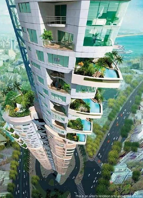 Skyscraper with balcony pools and plants
