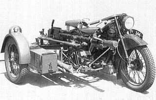 Danish military Nimbus motorcycle with side car, mounted with 20mm Madsen machine cannon.