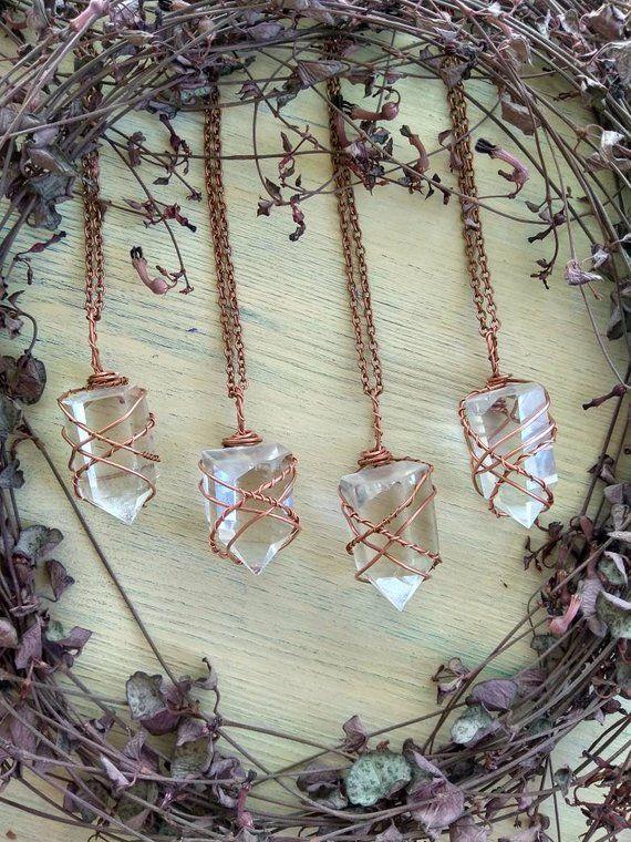 Clear Rough Quartz Pendant Necklace handwrapped in Copper Wire.