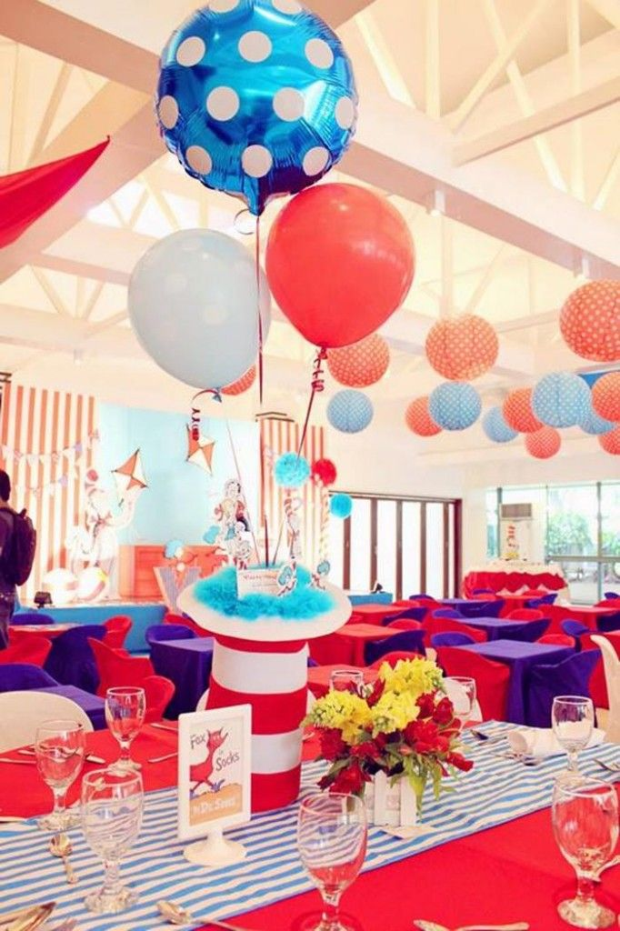 Cat in the Hat Center pieces | Cat in the Hat Party via Kara's Party Ideas | Kara'sPartyIdeas.com ...