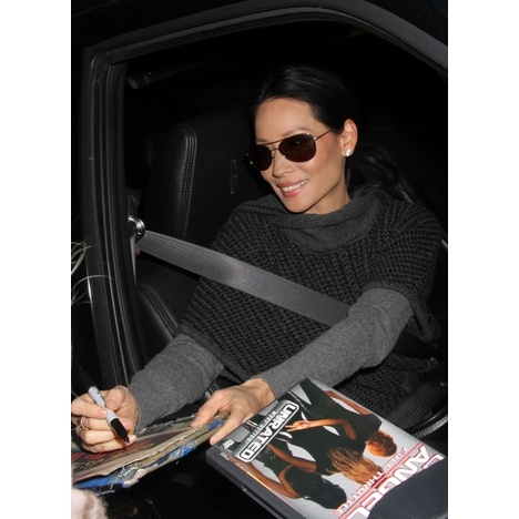 """Lucy Liu signed a few autographs after exiting """"Live with Kelly"""" in NYC on Tuesday."""