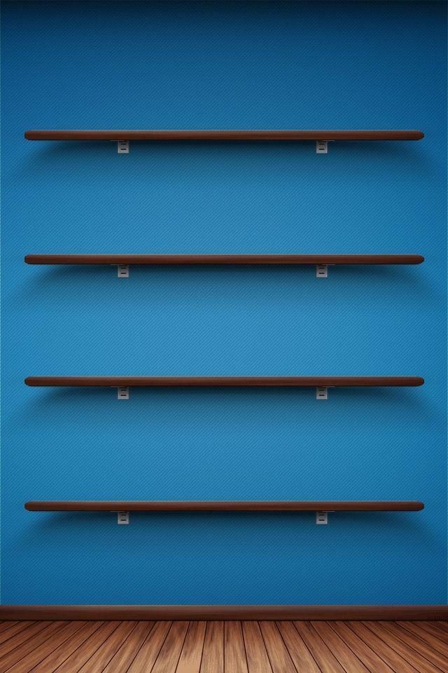Download Blue Wall Shelfs iPhone Wallpaper