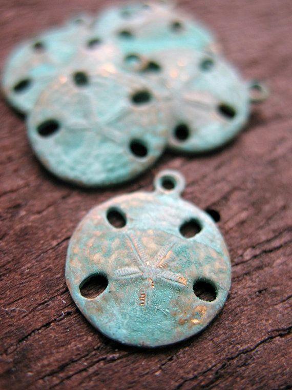 Verdigris Sand Dollar Charms  CHM00142 by missficklemedia on Etsy, $8.00