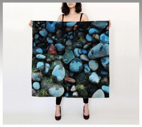"Beach Pebbles 36""X 36"" Large Square Silk Scarf by LOVEMIZU on Etsy"