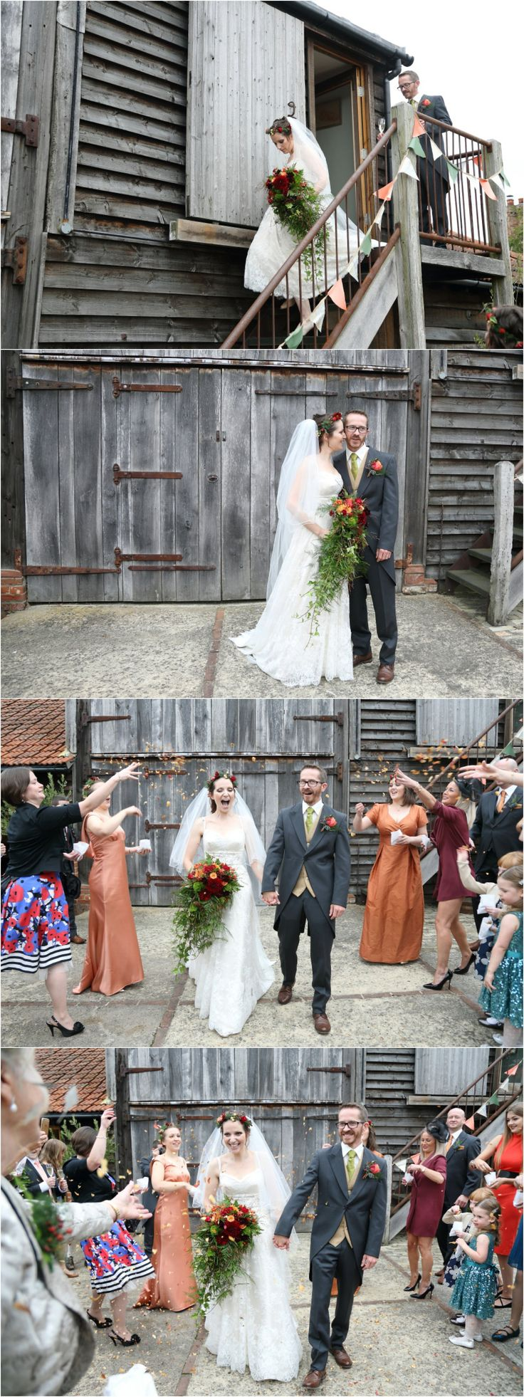 relaxed fun wedding photography and confettii shot at Moreves barn in Suffolk