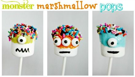 Monster Marshmallow Pops from Multiples & More: theoretically this is a fun project to do with your kids, but the big kids in the office love the idea of these too!
