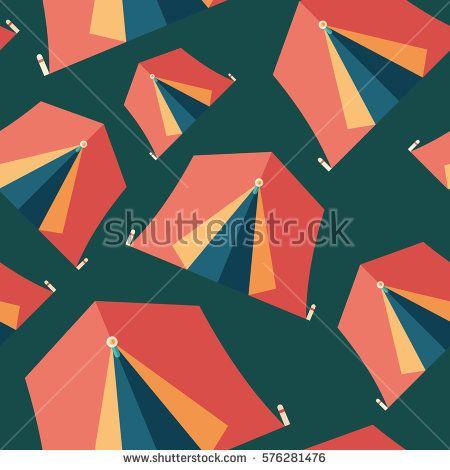 Tourist tent flat icon seamless pattern. #summerpatterns #vectorpattern #patterndesign #seamlesspattern