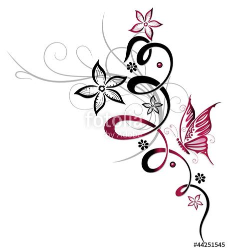 Floral and feminine ornament with butterfly and flowers. Copyright Christine Krahl.