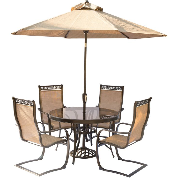 Monaco 5 Piece Outdoor Dinning Set with Table Umbrella and Umbrella Stand