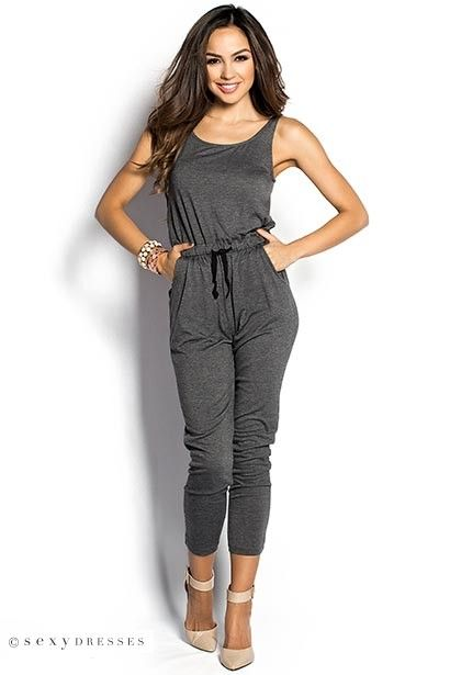 Gray Casual Slouchy Jumpsuit with Pockets