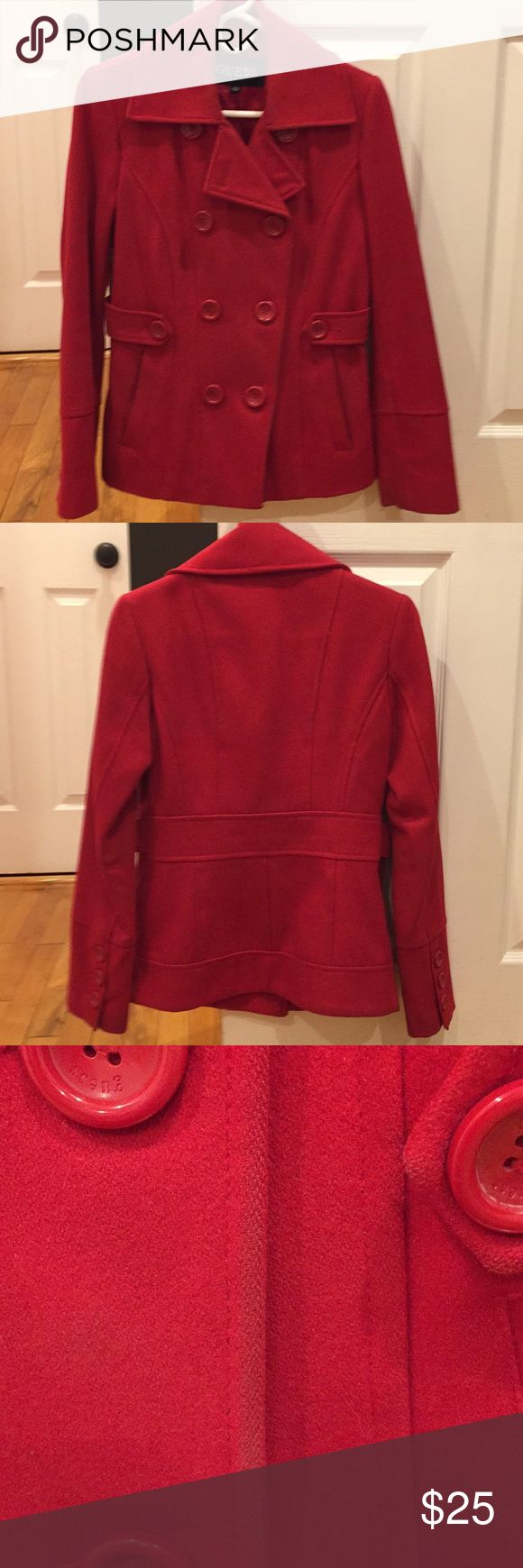 Red Pea Coat Cute, fitted, red pea coat. Short in length just comes down to the behind. Good condition, normal wear, no tears. Purchased at Bloomingdales. Guess Jackets & Coats Pea Coats