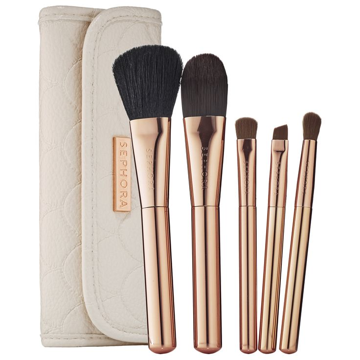 A next-level, five-piece travel brush set encased in a limited-edition, scalloped pouch. #Sephora