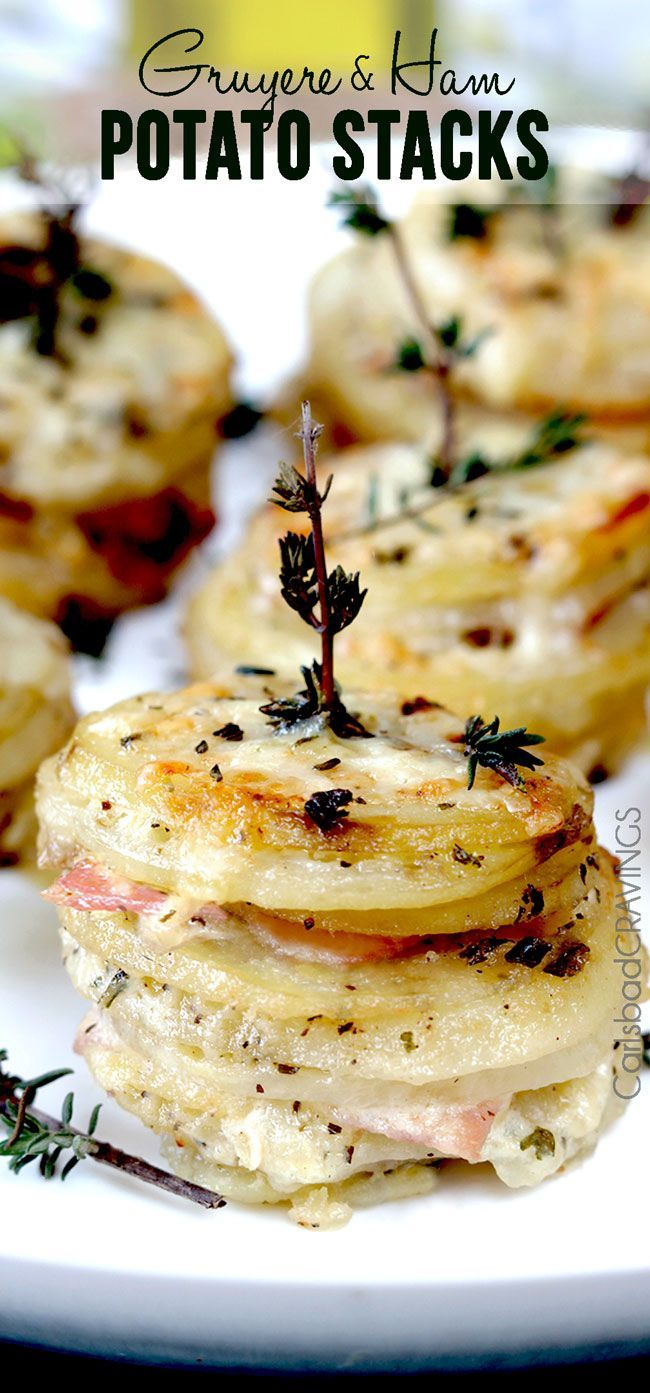 Gruyere and Ham Potato Stacks | If you can slice and layer, than you can make these cheesy, creamy tender potatoes layered with buttery herb potatoes, Gruyere and ham - the perfect insanely delicious special occasion side!