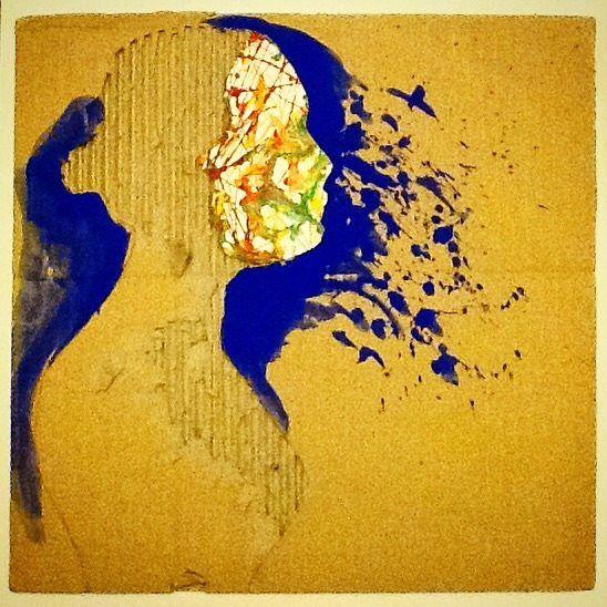 Reflection (370x380mm,Cardboard Relief portraits, graphics, illustrations, self-portrait)