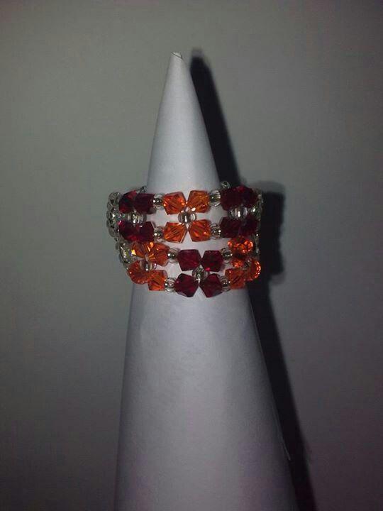 Oranje-bordeau swarovski ring