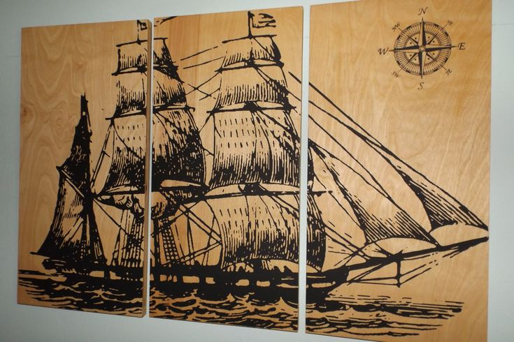 Vintage Pirate Ship SAILBOAT - Screen Print - Wood Painting - Hanging Wall Art on Stained Solid BIRCH 3/4 inch thick - Gift for Him/ Her  Print includes (3) approx. 12 by 24 rectangular panels Panels are approx. 3/4 thick Natural Birch wood panels All panels were stained with a Golden oil- based stain, then printed with black ink.  Available with 2 Coats of Polyurethane that will give it a nice shine and protect the artwork FEEL FREE TO CHOOSE A DIFFERENT COLOR COMBINATION FOR THIS DESIGN…