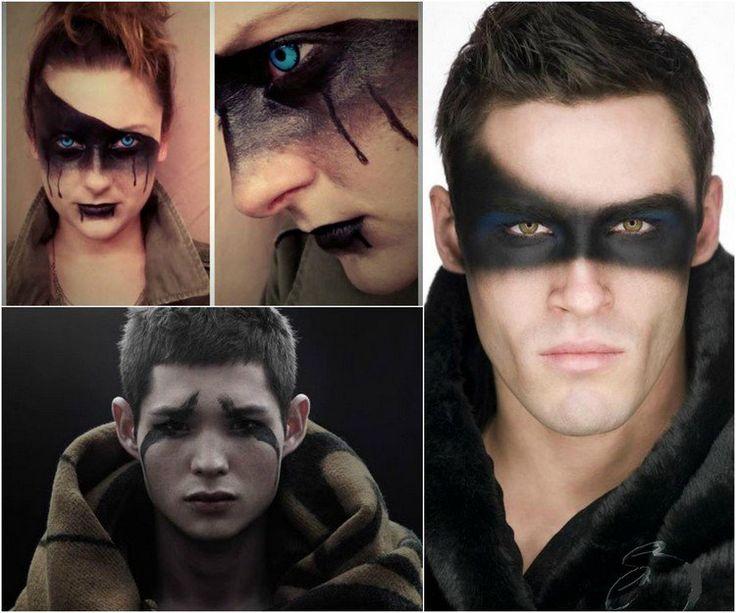 maquillage Halloween yeux homme décorés de fard noir