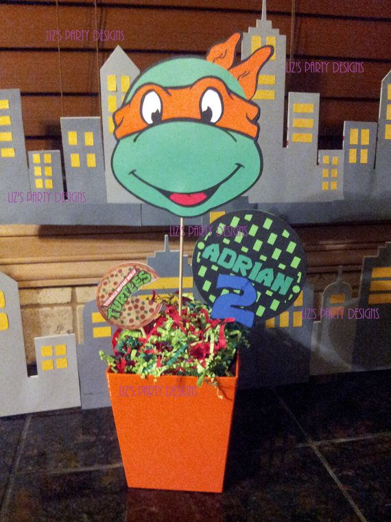 Ninja Turtle Centerpiece PICKS ONLY PRINTABLE by LizsPartyDesigns